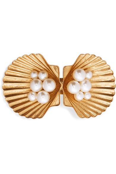 Jennifer Behr Accessories BOTTICELLI GOLD-TONE SWAROVSKI PEARL HAIRCLIP