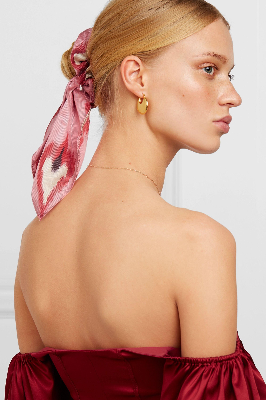 Jennifer Behr Printed cotton and silk-blend twill hair tie