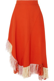 Fringed jersey skirt