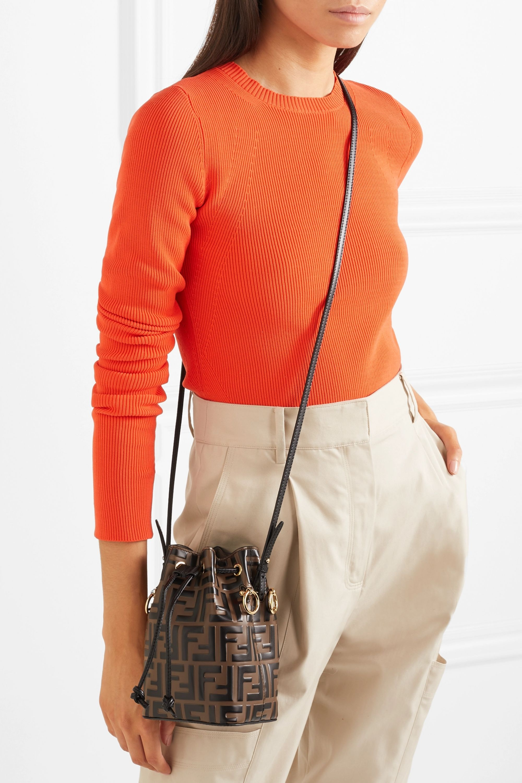 Brown Mon Tresor Mini Embossed Leather Bucket Bag Fendi Net A Porter