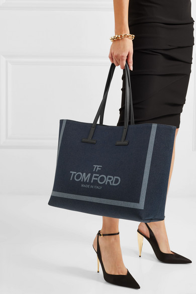 Tom Ford Totes T medium leather-trimmed printed denim tote