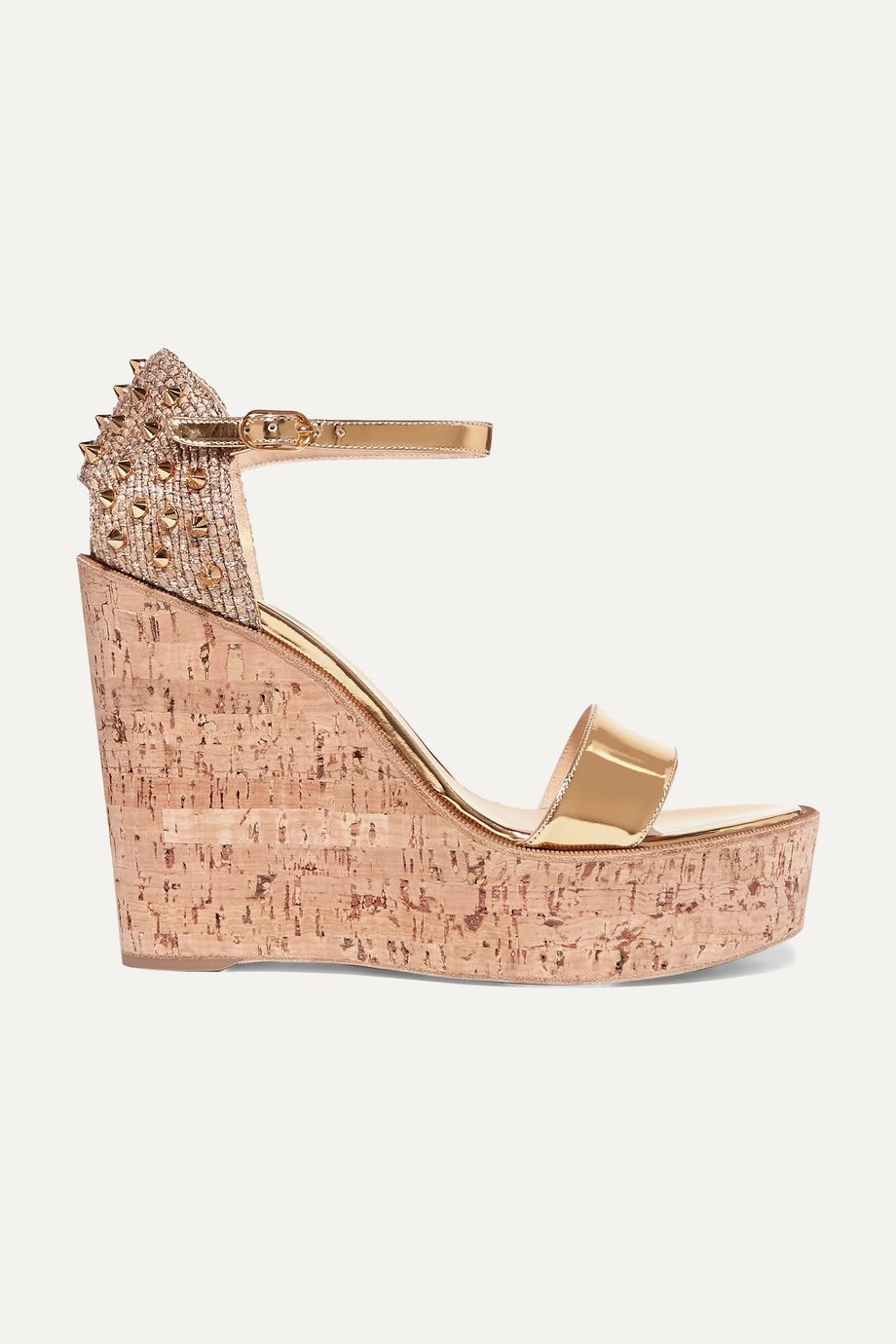 Christian Louboutin Bellamonica 120 spiked metallic jute and leather wedge sandals