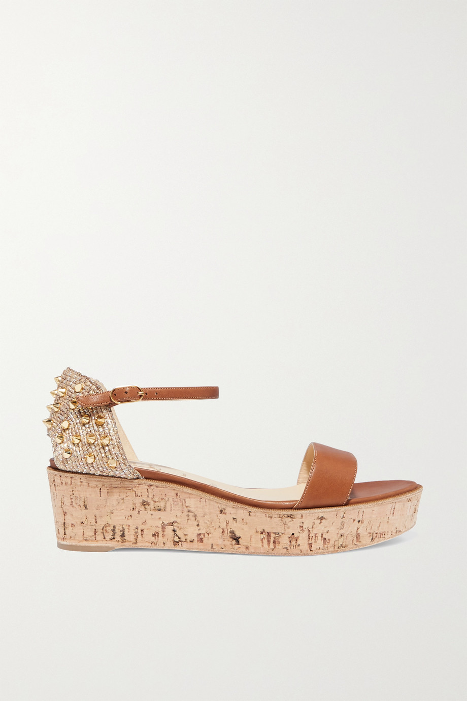 Christian Louboutin Bellamonica 60 spiked leather espadrille wedge sandals