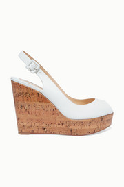 Christian Louboutin Plume Sling 100 leather slingback wedge sandals