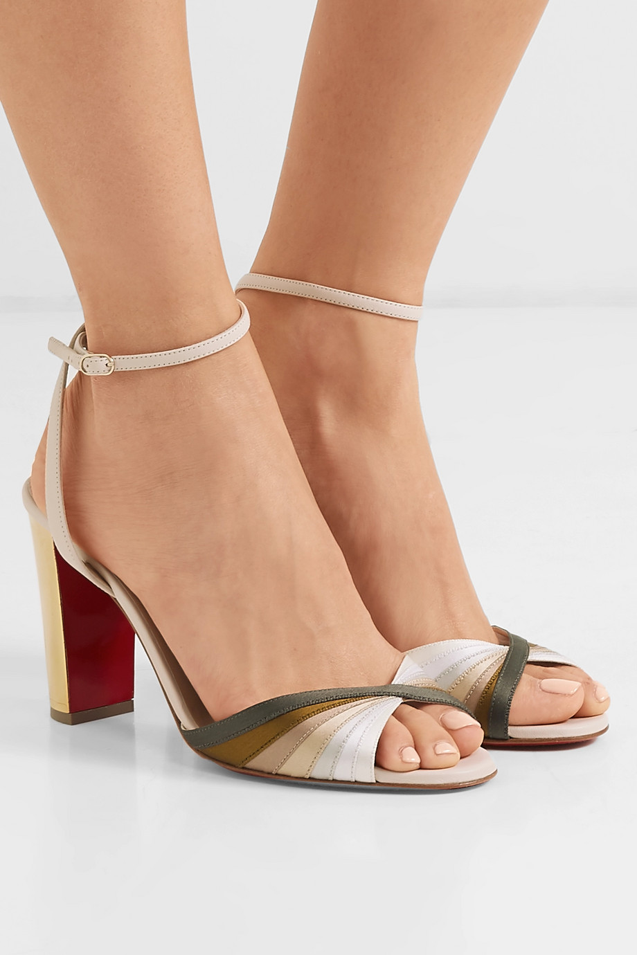 Christian Louboutin Naseebasse 85 satin and leather sandals