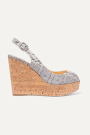 Christian Louboutin Une Plume 100 snake slingback wedge sandals