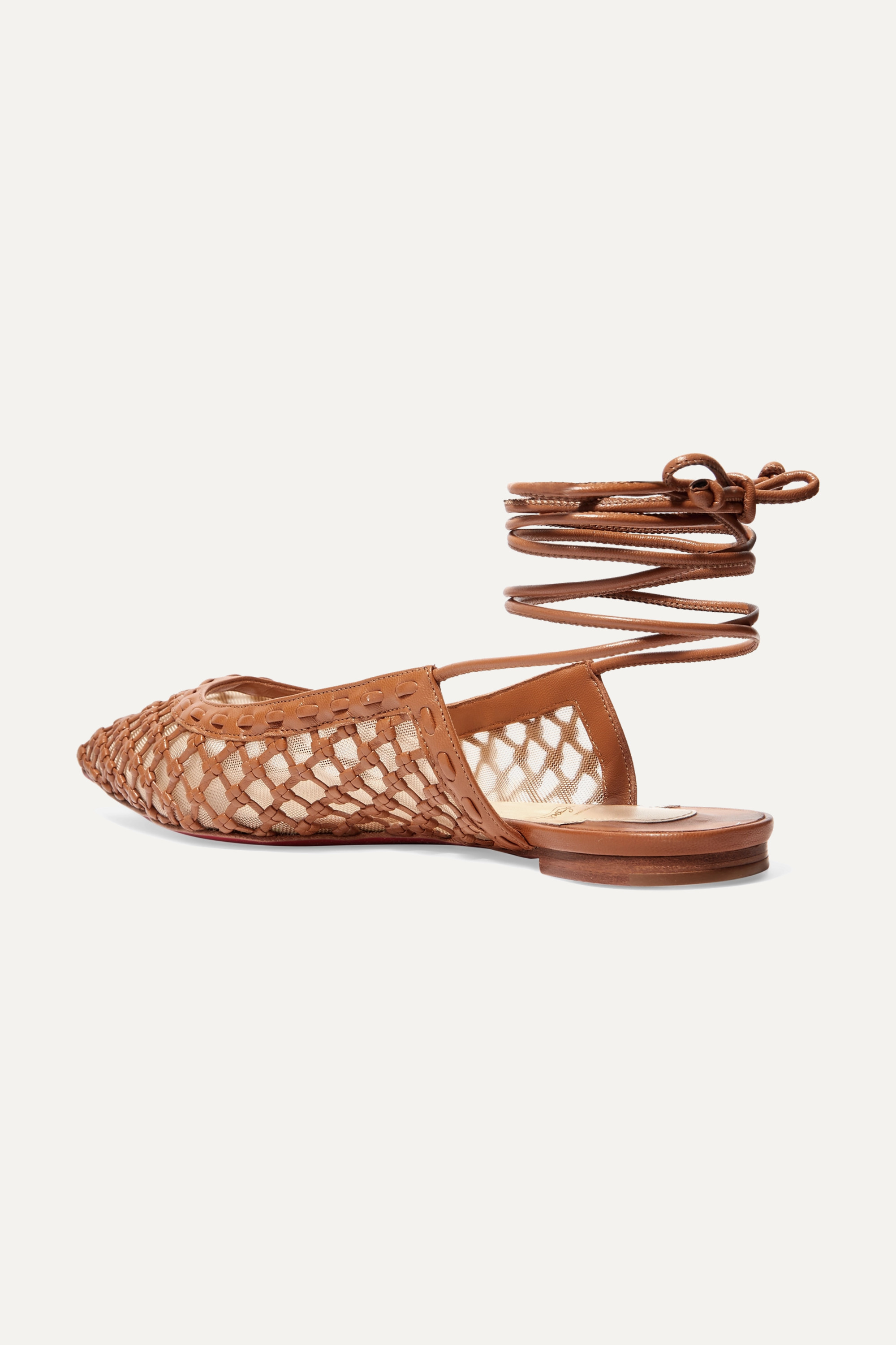 Christian Louboutin Cage and Curry mesh and woven leather point-toe flats