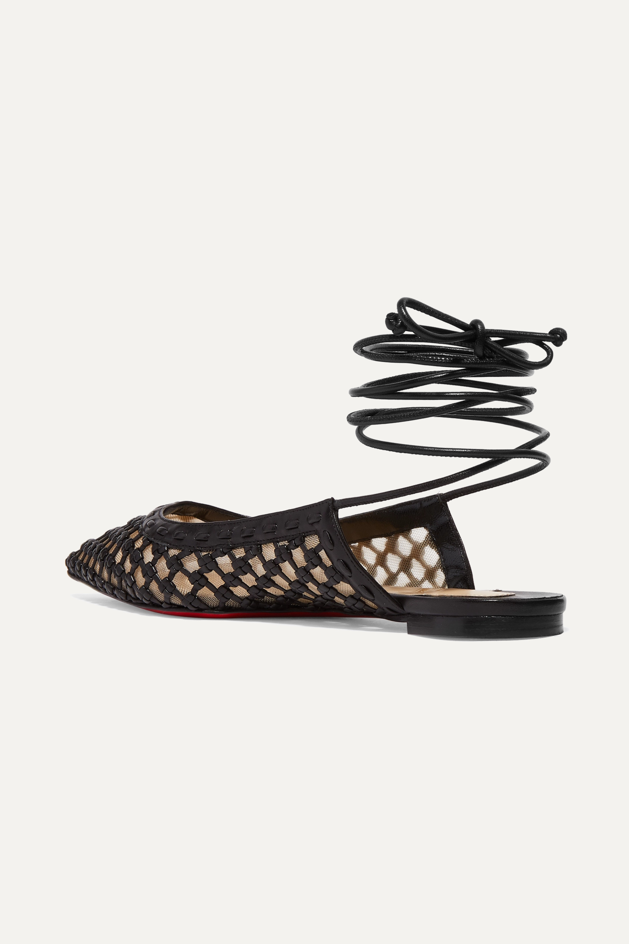 Christian Louboutin Cage and Curry woven leather and mesh point-toe flats