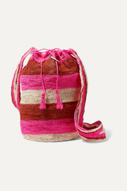 Muzungu Sisters Rainbow Fique striped woven straw shoulder bag