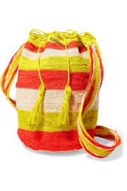 Muzungu Sisters Rainbow Flique striped woven straw shoulder bag