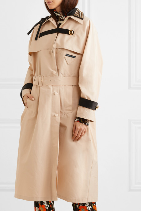 Studded cotton-blend twill trench coat