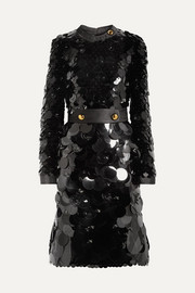 Prada Belted silk-trimmed embellished chiffon dress