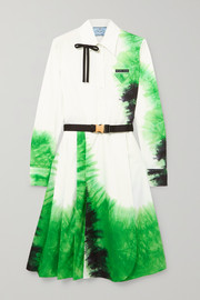 Prada Belted tie-dye cotton-poplin dress