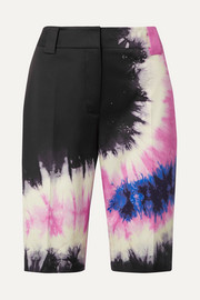 Prada Tie-dyed cotton-blend poplin shorts