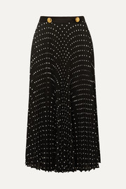 Satin-trimmed pleated polka-dot crepe midi skirt