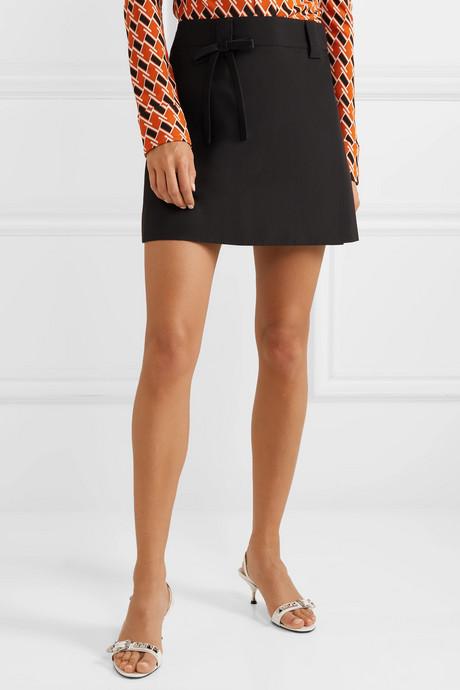 Bow-embellished silk-satin wrap mini skirt