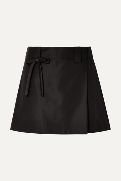 Bow Embellished Silk Satin Wrap Mini Skirt by Prada