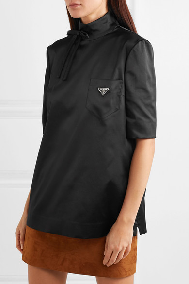 Prada Tops Bow-detailed embellished silk-blend satin blouse