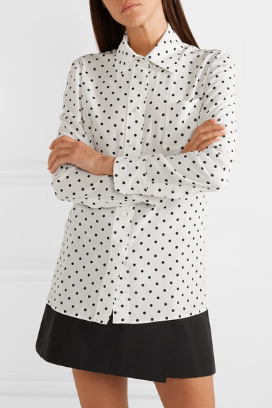 Prada Tops Pussy-bow polka-dot silk crepe de chine blouse
