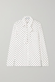 Pussy-bow polka-dot silk crepe de chine blouse