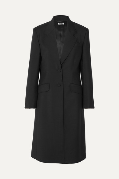 MIU MIU | Miu Miu - Mohair And Wool-blend Coat - Black | Goxip