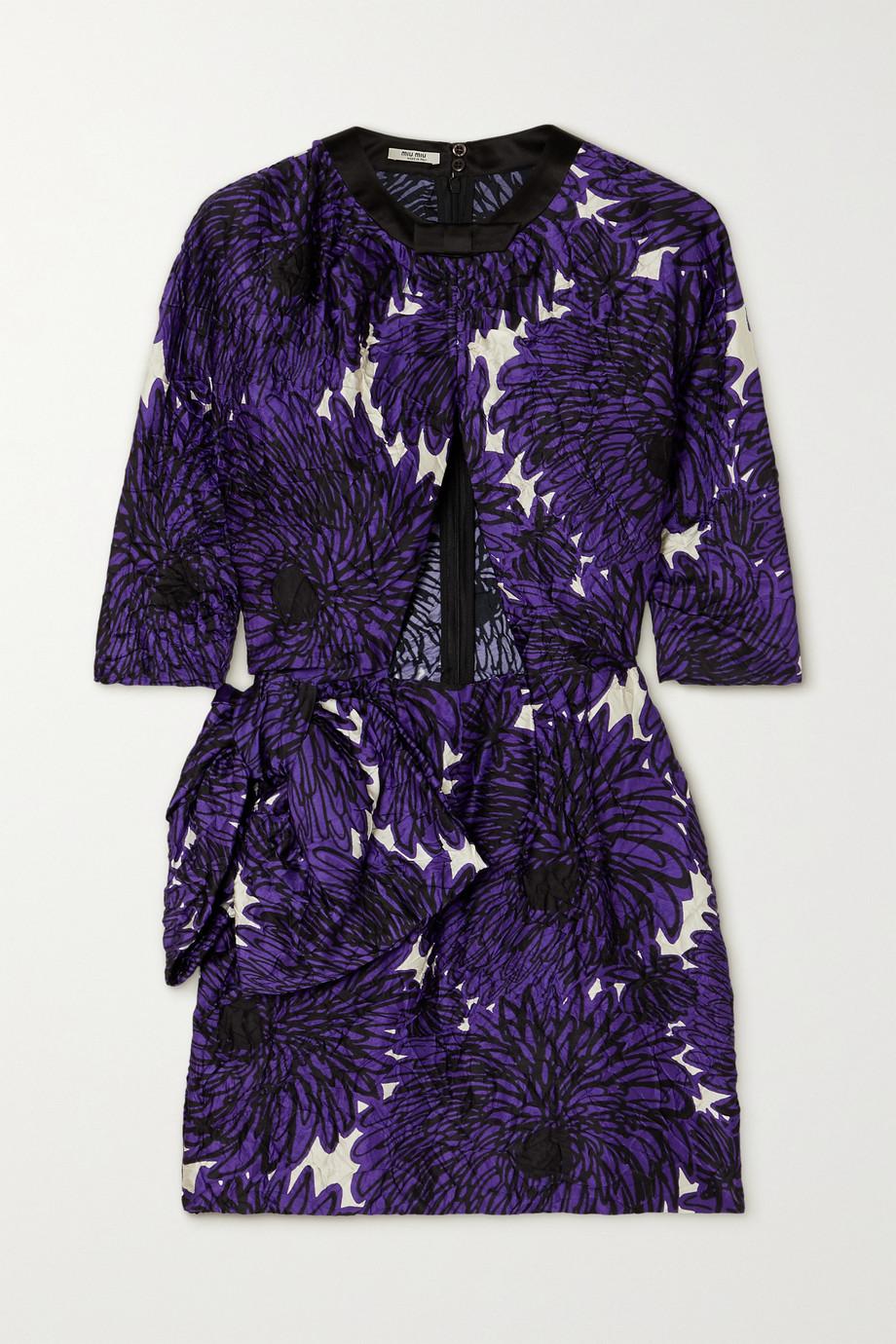 Miu Miu Cutout printed crinkled-satin mini dress