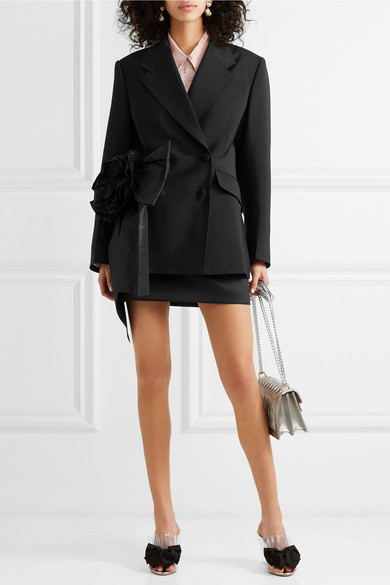 Miu Miu Blazers Bow-embellished mohair and wool-blend blazer