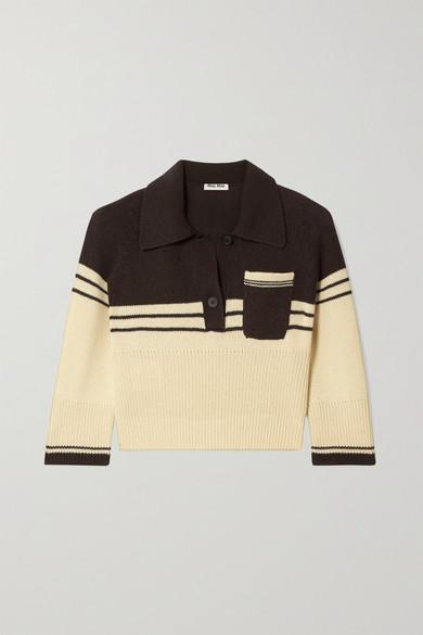 MIU MIU | Miu Miu - Cropped Striped Cashmere Polo Shirt - Ecru | Goxip