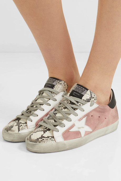 Superstar distressed snake-effect leather and suede sneakers