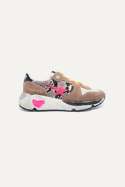 Golden Goose Running Sole distressed snake-effect leather, suede and mesh sneakers