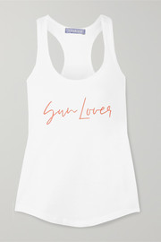 Paradised Sun Lover embroidered ribbed cotton-blend jersey tank