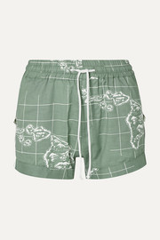 Paradised Lizzie grosgrain-trimmed printed cotton-voile shorts