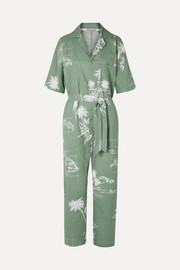 Paradised Apres Beach printed cotton-voile jumpsuit