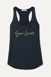 Paradised Sun Lover embroidered cotton-blend jersey tank
