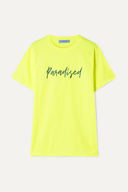 Paradised Embroidered neon cotton-jersey T-shirt