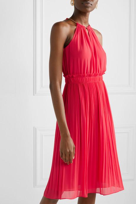 Hayden chain-embellished pleated georgette dress