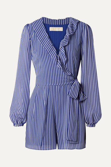 MICHAEL MICHAEL KORS | MICHAEL Michael Kors - Wrap-Effect Ruffled Striped Georgette Playsuit - Blue | Goxip