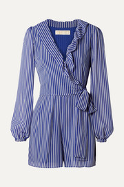 Wrap-effect ruffled striped georgette playsuit