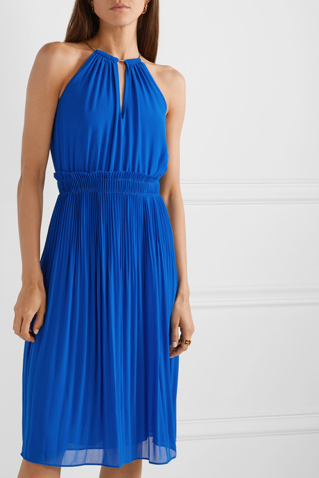 Hayden chain-embellished pleated georgette dress