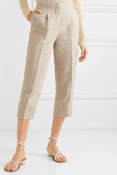Cropped linen tapered pants