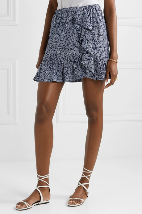 Ruffled printed crepe mini skirt