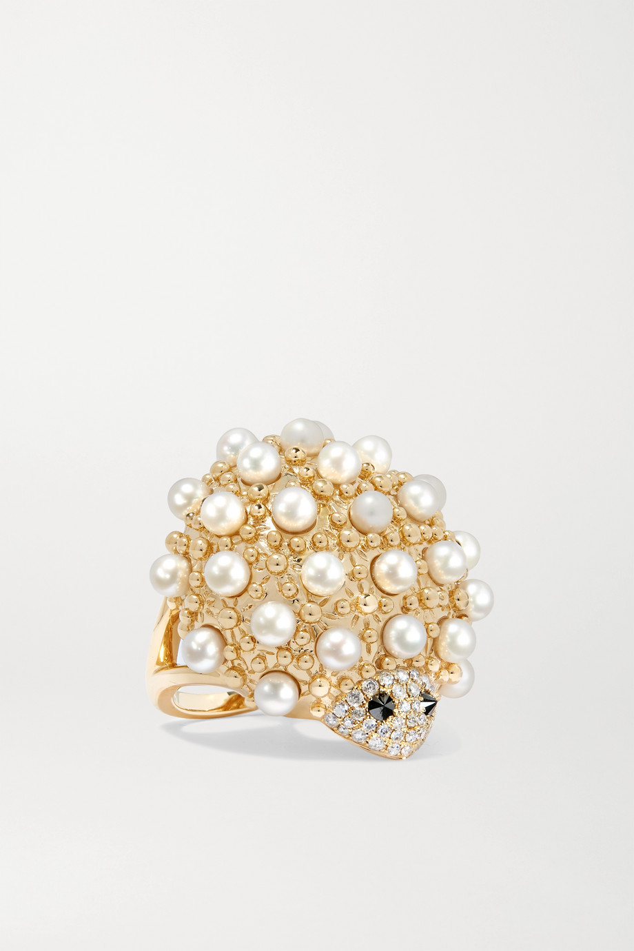 Yvonne Léon Ring aus 18Karat Gold mit Perlen und Diamanten