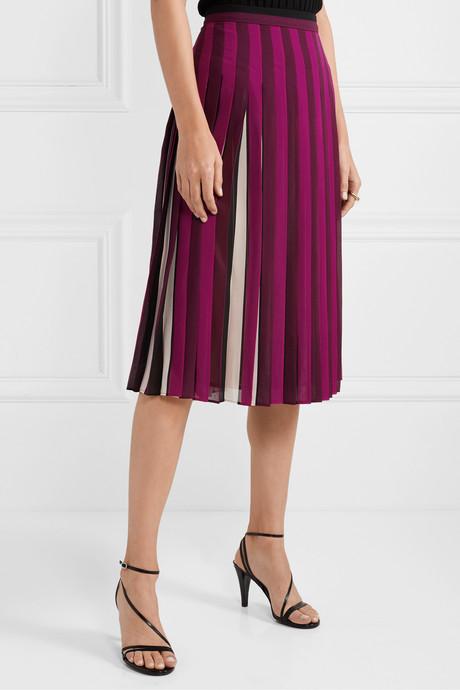 Pleated striped crepe midi skirt