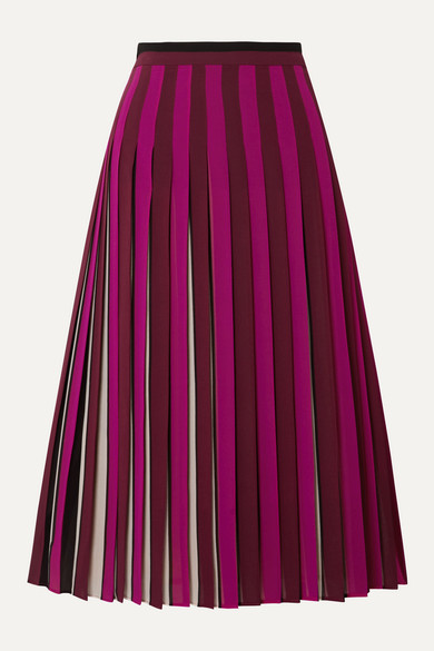 Pleated Striped Crepe Midi Skirt by Michael Michael Kors