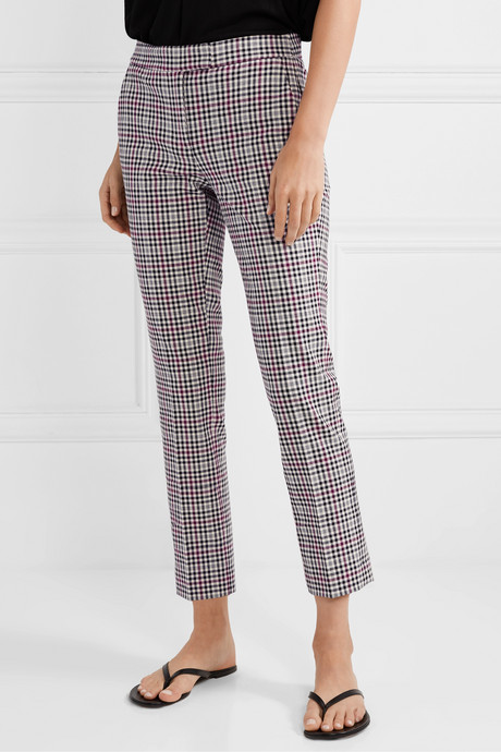 Cropped checked stretch-cady slim-fit pants