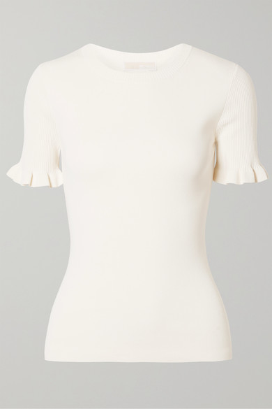 Ruffled Ribbed Stretch Knit Sweater by Michael Michael Kors