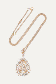 18-karat rose gold, topaz and diamond necklace