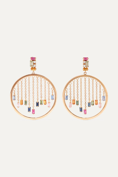 18-Karat Rose Gold, Diamond And Sapphire Earrings