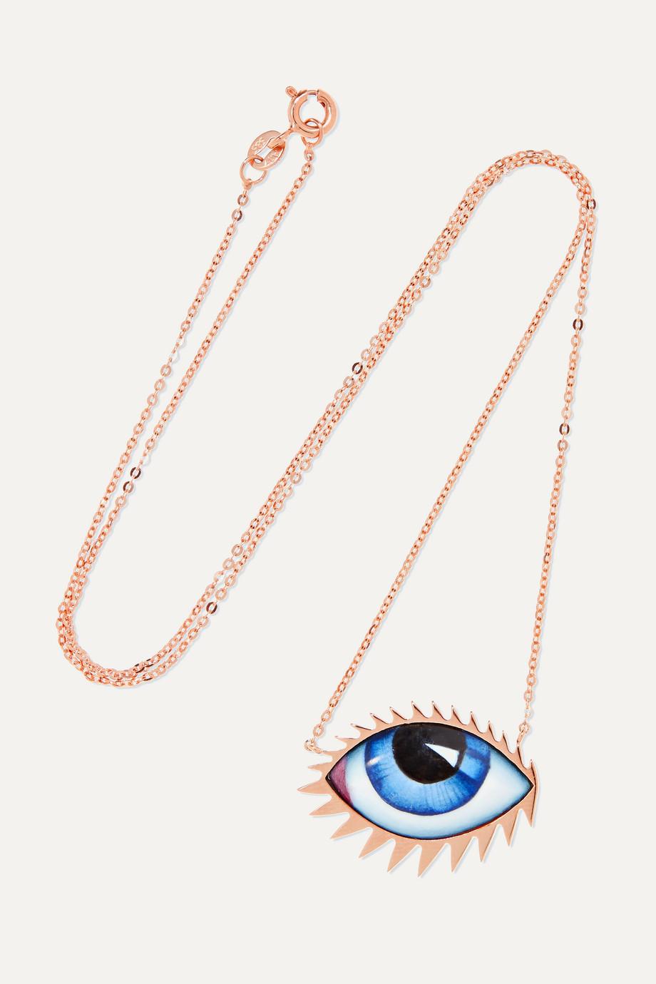 Lito + Zeus+Dione Tu Es Partout 14-karat rose gold enamel necklace