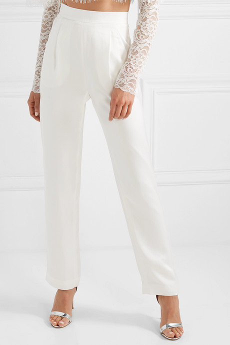 Satin straight-leg pants